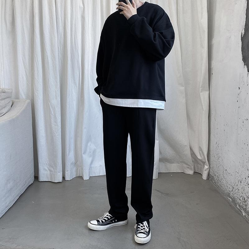 痞帅休闲套装男生潮流韩版帅气宽松假两件卫衣长裤两件套运动服装