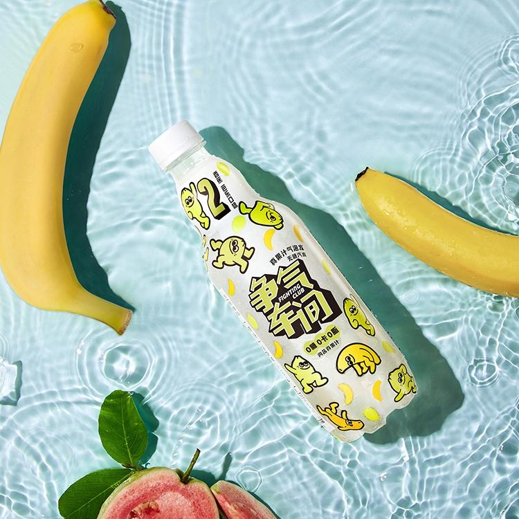 争气车间0糖0卡0脂饮料香蕉风味芭乐汁果汁气泡水12瓶整箱饮用水