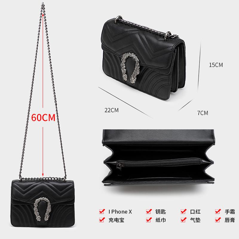 新品法国小ck同款2020新款时尚质感单肩包洋气链条斜挎包