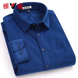 雅鹿男士灯芯绒长袖衬衫秋季新款韩版潮流休闲百搭帅气衬衣男外套