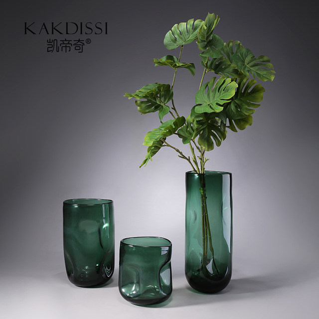 Kai Tai Qi green straight bump dimples gardening hydroponic flowers glass vase ornaments home decorations Nordic