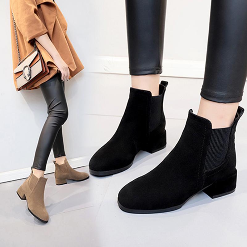 马丁靴女秋冬季2019新款百搭复古英伦风粗跟粗跟松紧带切尔西短靴