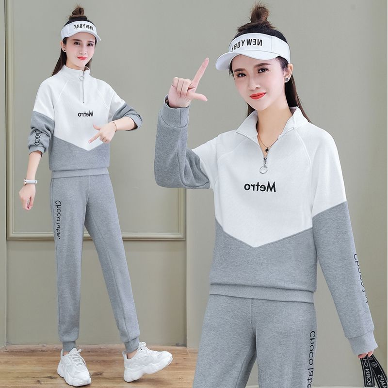 Stand-up collar sweatshirt sweatpants sports suit women's early spring 2021 new Korean style loose small man popular casual suit