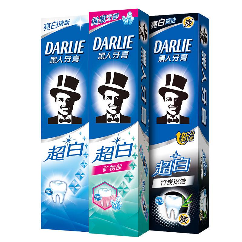 【黑人】超白牙膏140g*3支+牙刷3支