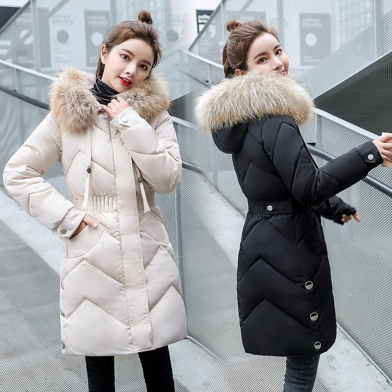 冬新款棉袄女中长款加厚修身棉衣毛领连帽可拆卸棉服学生羽绒外套