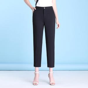 烟管裤女2020新款夏季九分裤子宽松显瘦休闲西裤直筒黑色西装裤女