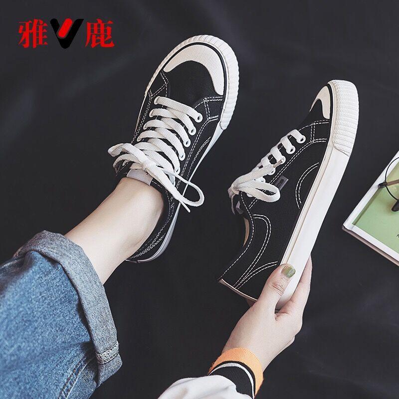 雅鹿女鞋官方旗舰店2020年夏季新款帆布鞋韩版潮流小白鞋百搭布鞋