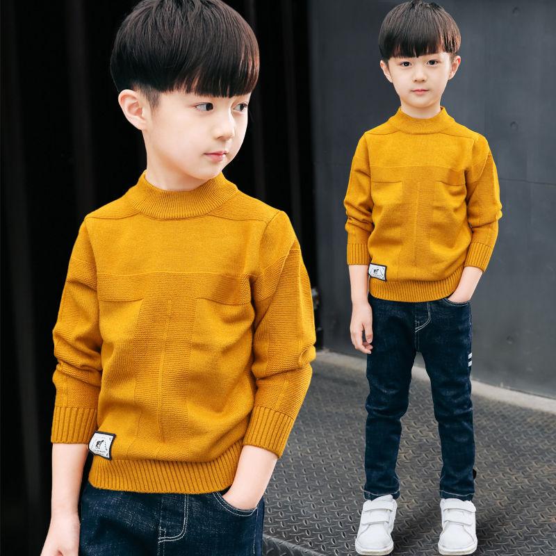 童装毛衣儿童针织衫韩版a童装加绒加厚秋冬高领男童线衫套头中大童
