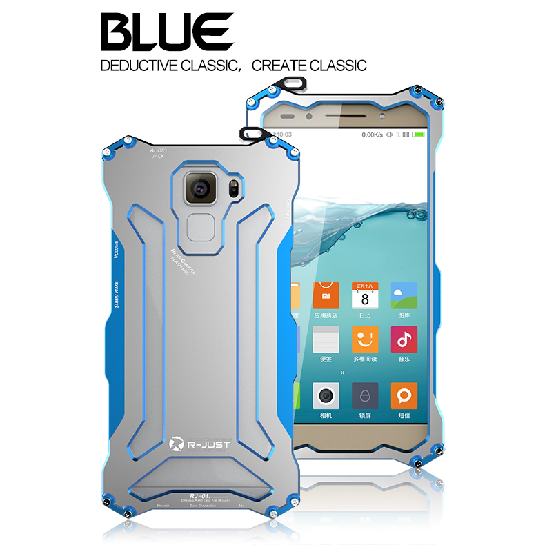 R-JUST GUNDAM Aerospace Aluminum Contrast Color Shockproof Metal Shell Outdoor Protection Case for Huawei Honor 7