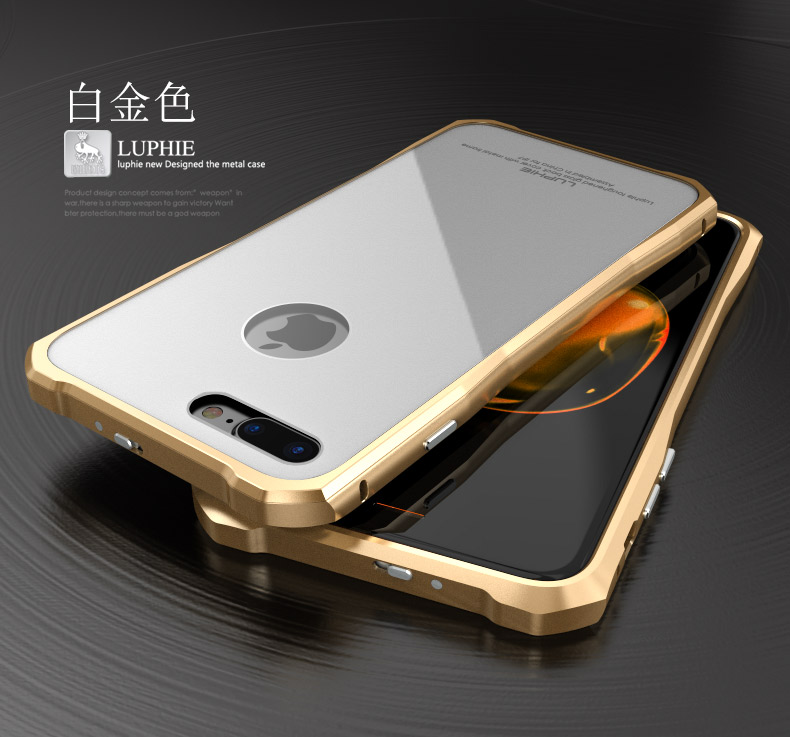 Luphie Aircraft Aluminum Metal Frame 9H Tempered Glass Back Cover Case for Apple iPhone 7 Plus & iPhone 7