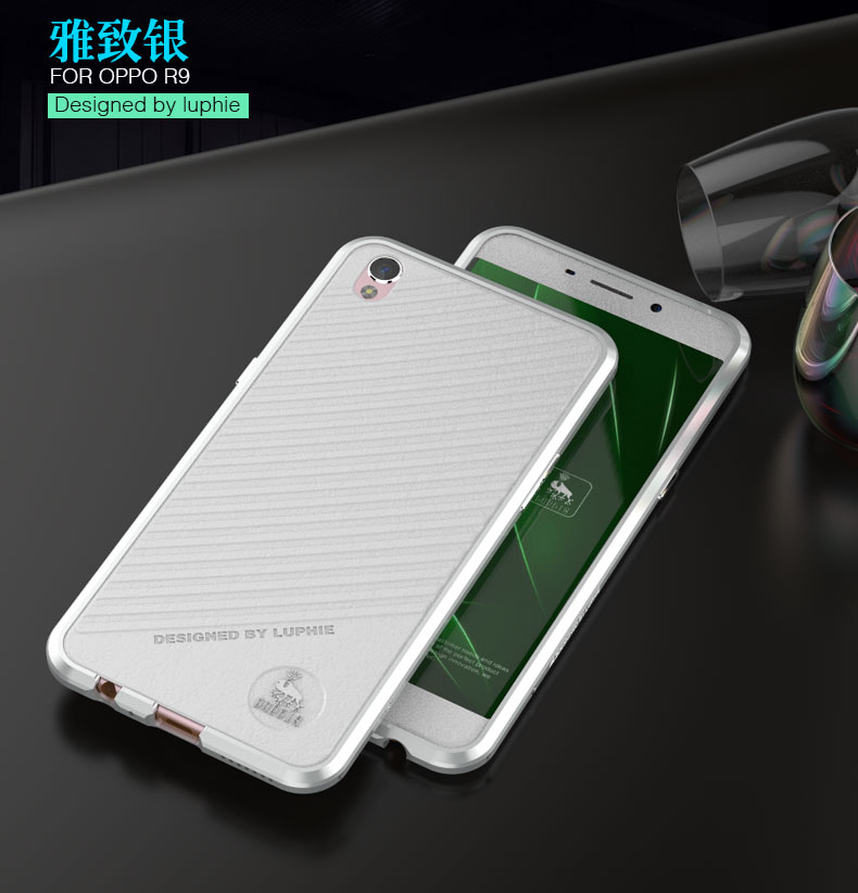 Luphie Rapier Ultra Slim Super Light Diamond Cuffing Edge Aluminum Metal Bumper Genuine Leather Back Cover Case for OPPO R9
