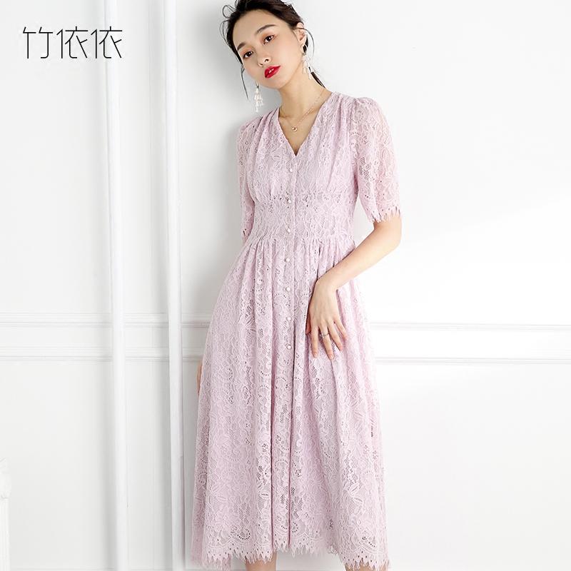 2018 mùa hè mới Hàn Quốc phiên bản của nước hòa tan ren váy nữ phần dài màu hồng tím cao eo váy đơn ngực váy