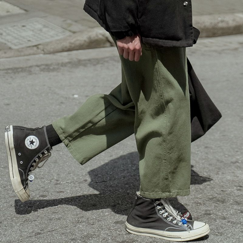 Autumn and winter new casual pants men's pure color hundred fashion linepants loose Korean version of students wide legs straight nine-point pants