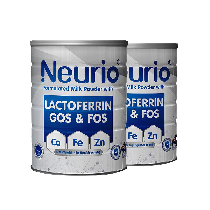 2罐装 Neurio纽瑞优 白金升级版 钙铁锌〗双益生元宝宝搭档45g*2