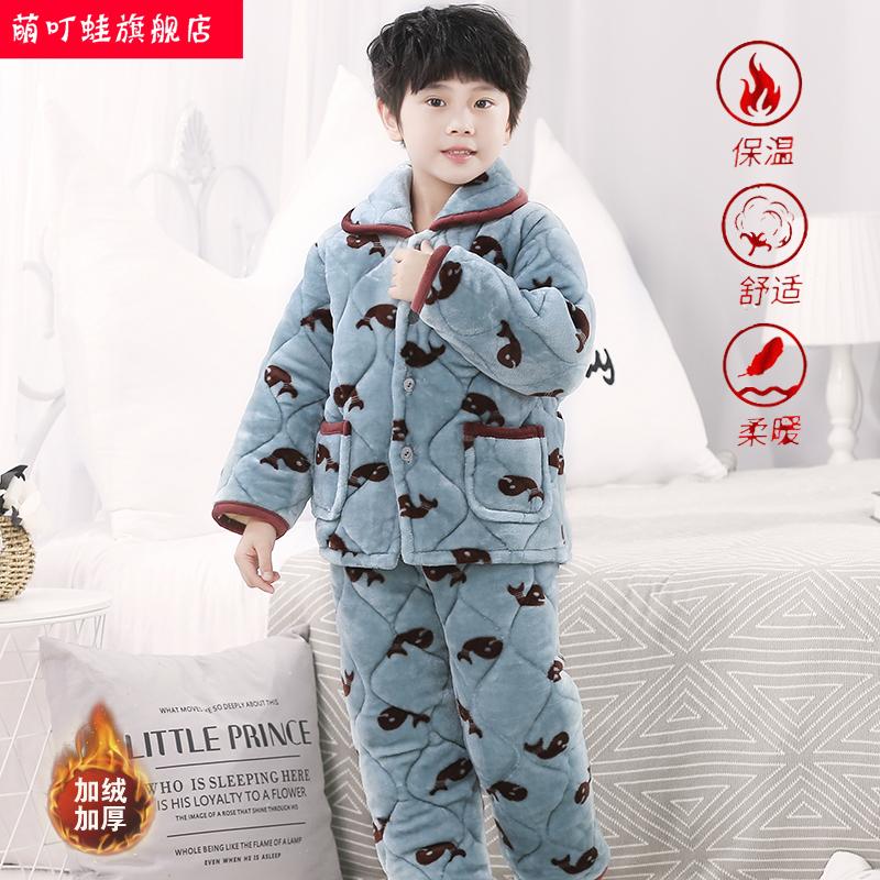 儿童睡衣秋冬季加绒加厚款三层法兰绒女童男孩中大童家居服珊瑚绒