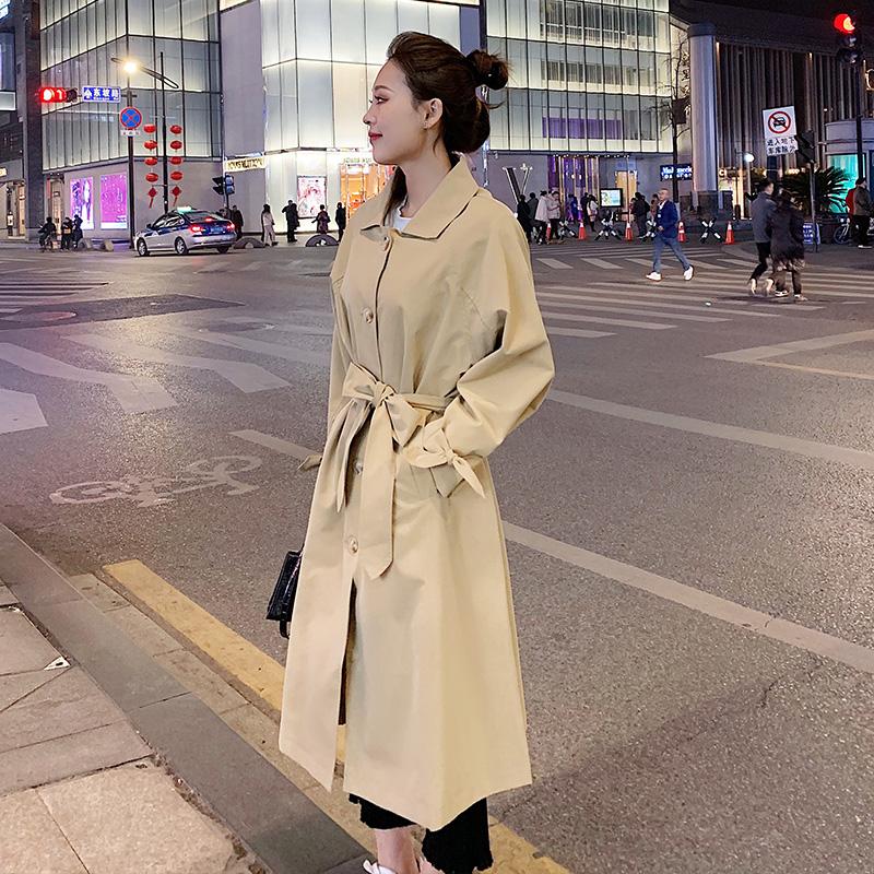 温苏2020新款春季流行风女外套中长款学生宽松chic韩版女装外套潮