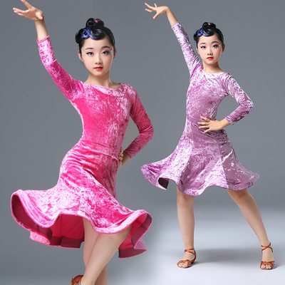 Girls Latin Dance Dresses Latin dress velvet long sleeve children's children's Latin dance training clothes girls' competition performance clothes