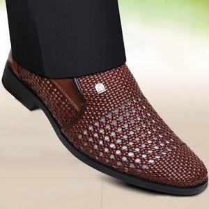 男士凉鞋透气镂空皮鞋男软皮软底洞洞夏季真皮白色商务正装休闲鞋