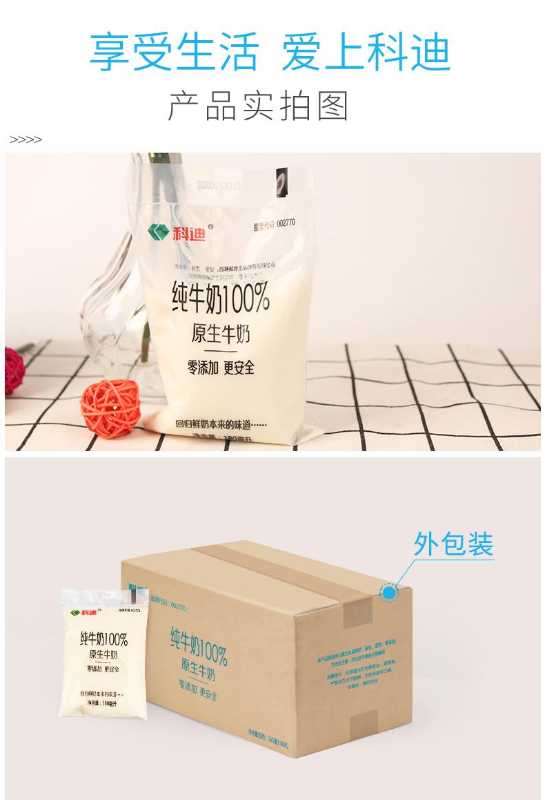 科迪纯牛奶整箱袋装原生牧场网红小白奶无添加营养早餐袋批特价详细照片