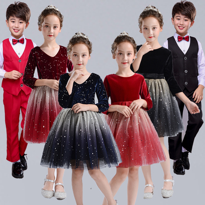 Children's choral clothing performance clothing primary school students' chorus clothing boys' and girls' dress host recitation performance