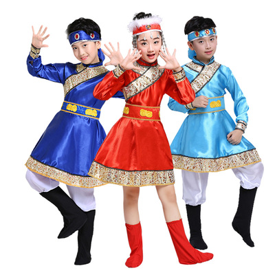 Girls Folk Dance Dress Children's Mongolian Dance Dress kindergarten minority Mongolian Tibetan boys and girls performance clothing