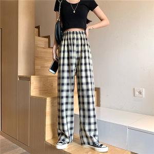 新款显瘦高腰夏季黑白格子裤,限时抢购