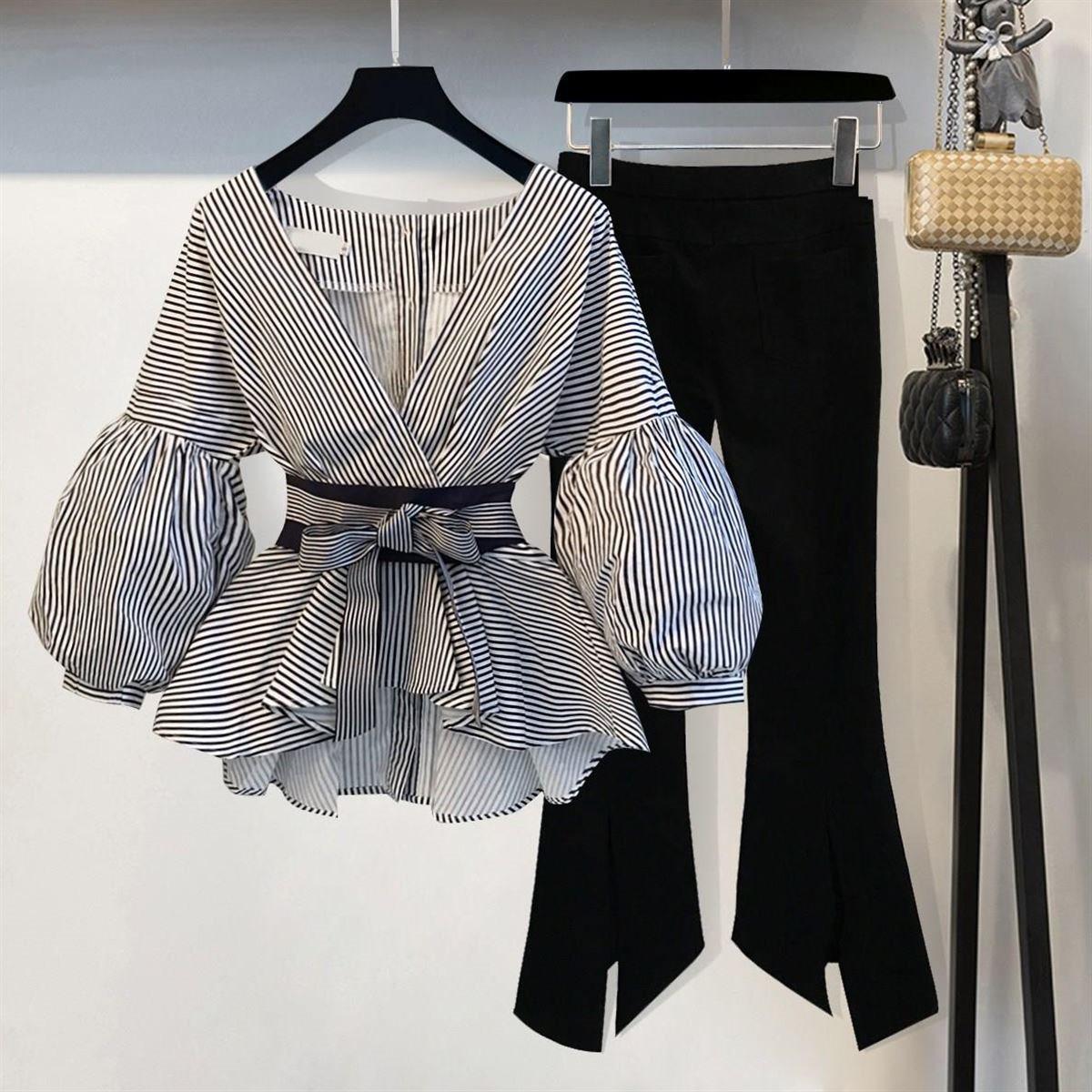 春季套装时尚女女装2018开春新款件套韩版V领收腰裤子上衣两气质