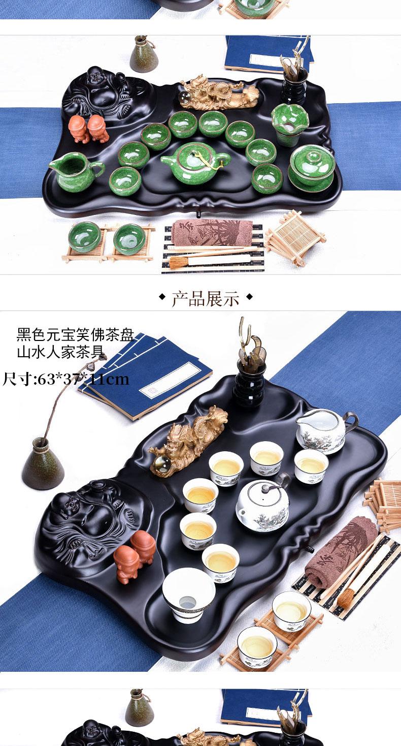 Ceramic teapot teacup HaoFeng purple sand tea set household kung fu tea tea science and technology, wood real wood tea tray