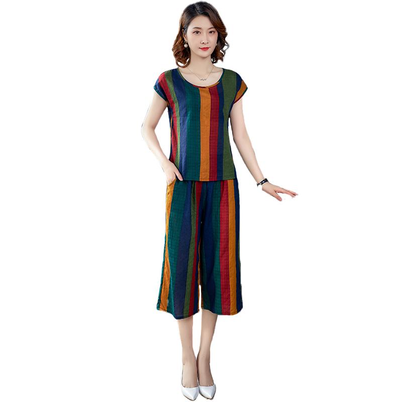 棉绸睡衣女士夏季薄款可外穿人造棉套装宽松短袖两件套家居服大码
