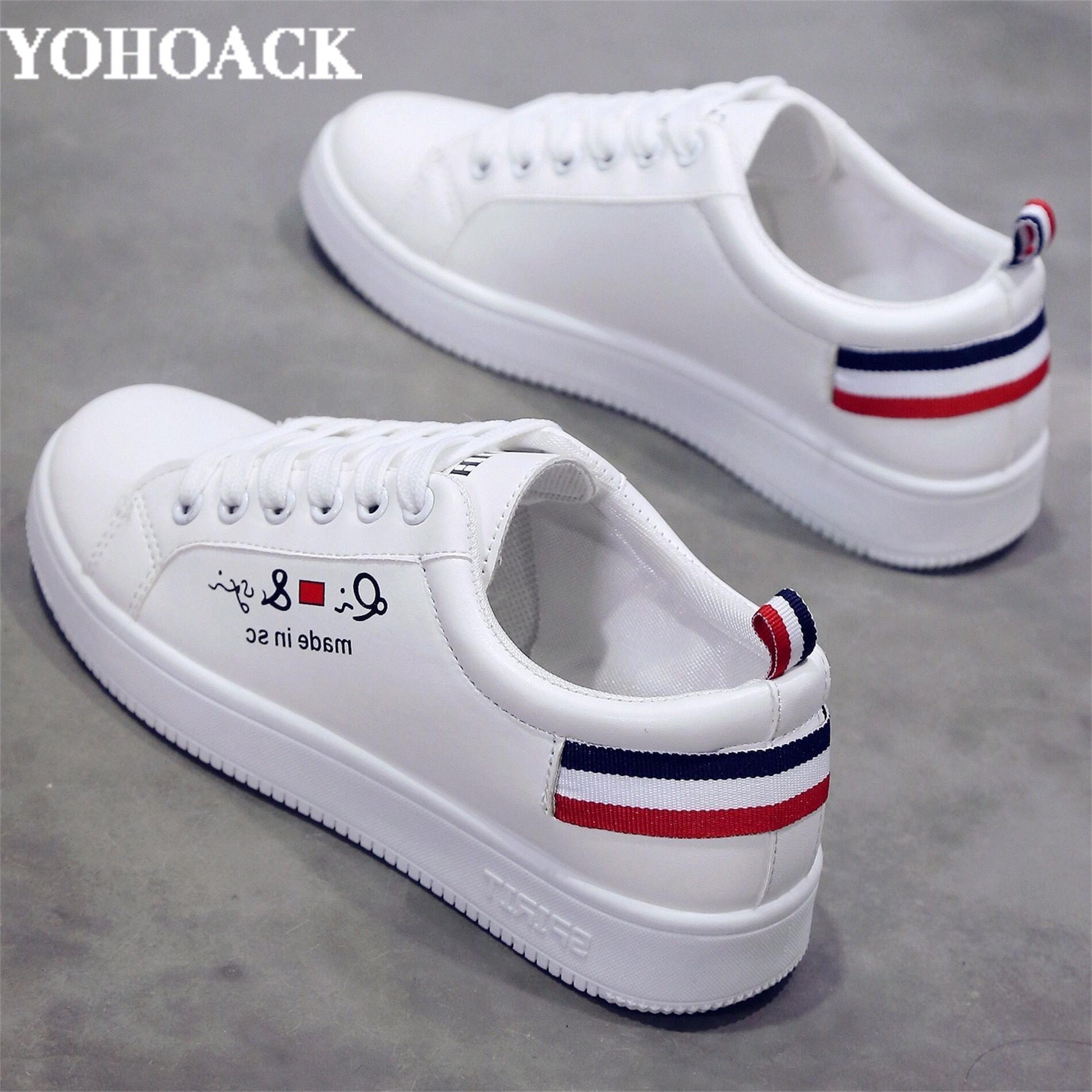 。杨幂同款韩版百搭小白鞋女学生平底跑步v学生运动鞋皮面透气单板