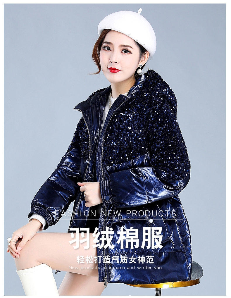 Bright-faced down cotton clothing women's long-term winter 2020 new thick warm hooded cotton wool cotton jacket tide 40 Online shopping Bangladesh