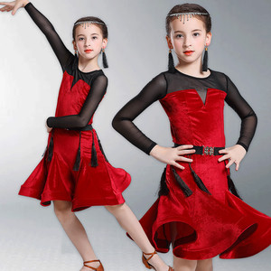 Girls Latin Dance Dresses Latin dance skirt girls Latin training suit gold velvet long sleeve one piece competition suit performance suit