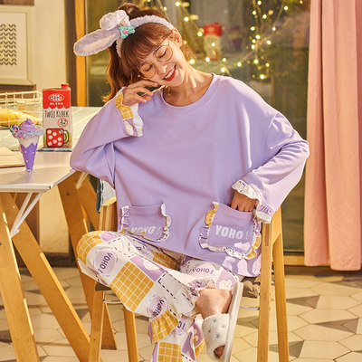 Long-sleeved cotton pajamas women's spring and autumn network red models cute two-piece suit can wear princess wind home service autumn and winter