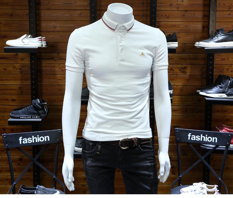 Trạm châu âu nam polo shirt slim ve áo thanh niên làm bóng bông bee thêu kích thước lớn stretch ngắn tay nửa-shirt t shirt polo