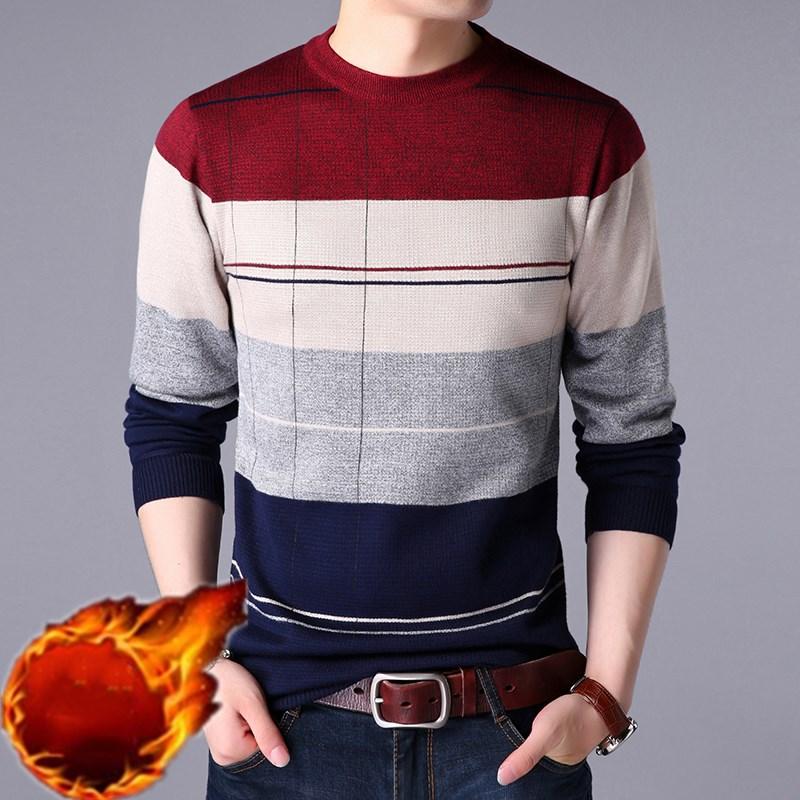 秋冬季男士毛衣加绒2019新款针织衫韩版修身男装秋冬衣保暖打底衫