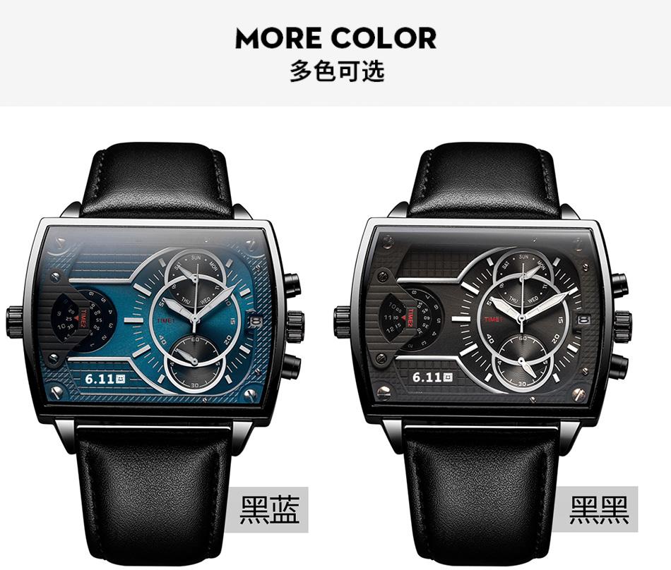 欧美风方形大表盘手錶男时尚潮流社会青年真皮男士机械石英錶正品详细照片