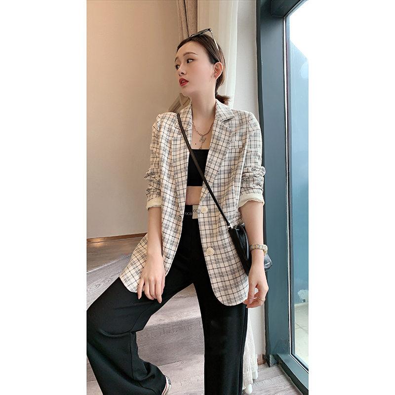 欧洲站春装2020新款欧货潮格子西装外套女韩版小西服英伦风设计感