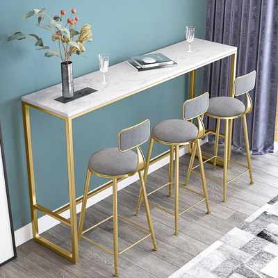 Nordic marble wall bar table home modern minimalist balcony high table milk tea shop bar table and chair combination