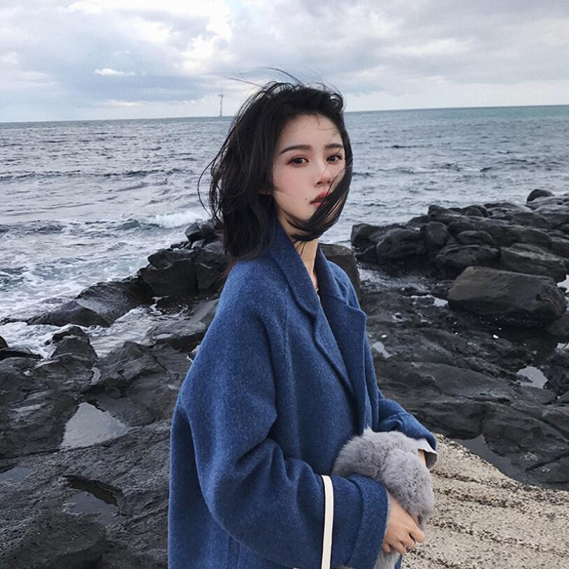 2019新款双面中长款秋冬季女装子大衣羊绒短款毛呢外套加厚雾霾蓝