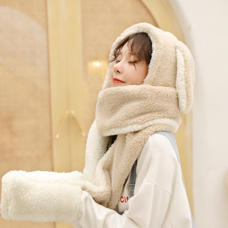 冬季兔子耳朵帽子围巾手套三件一体女冬秋可爱时尚冬天韩版潮百搭-给呗网