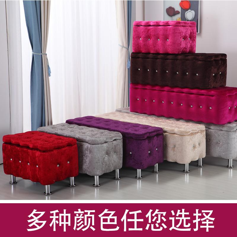 欧式布艺沙发凳储藏储物收纳实木服装店鞋试鞋凳箱子柜换坐凳