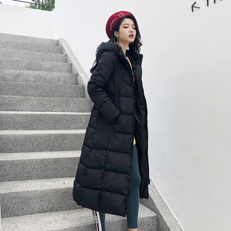 宣芭加厚过膝羽绒棉服2019冬季韩版中长款修身时尚棉服女外套棉袄