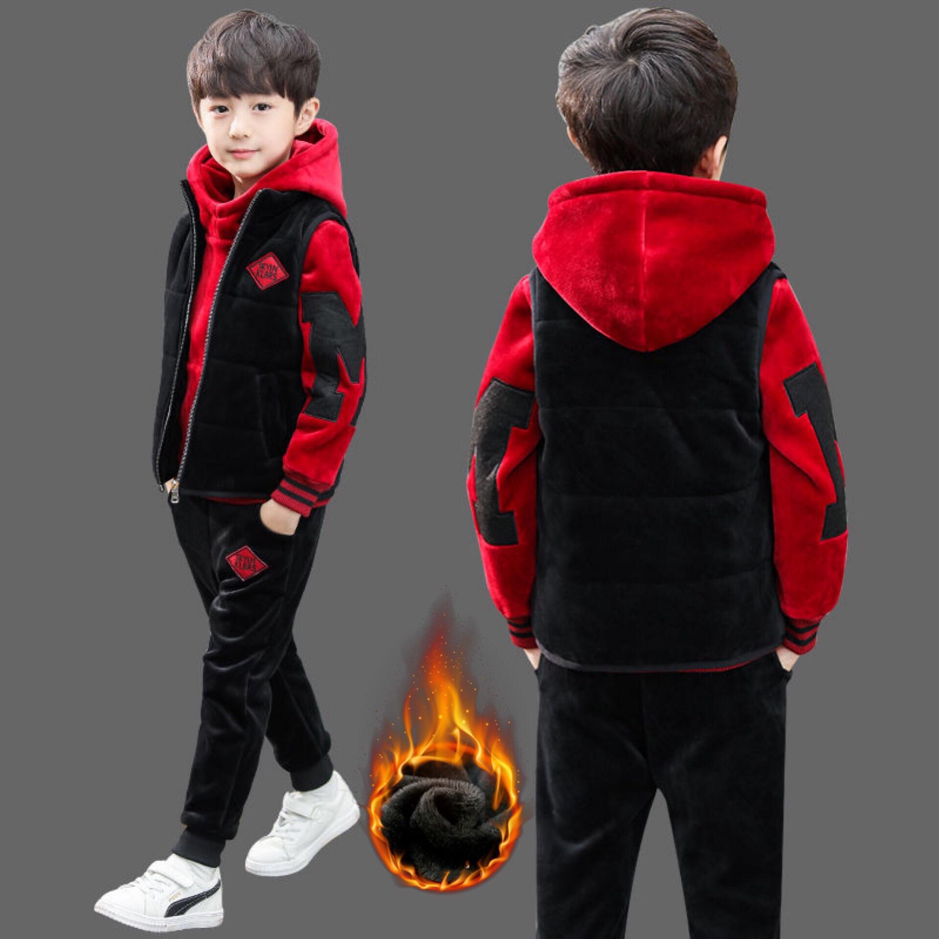 童装男童加绒加厚帅气三件套冬装套装2019新款儿童小孩卫衣秋冬季