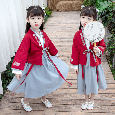 Boys Tang Suit for Kids GirlsHanfu spring Chinese suit long sleeve baby Tang costume children ancient costume super Fairy Princess Ru skirt