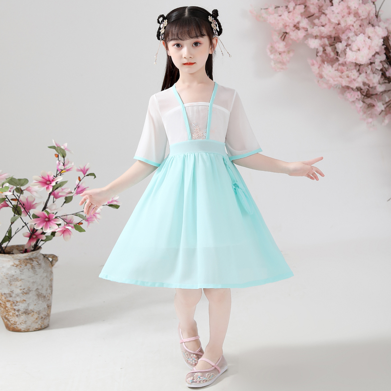 2020 Xia Hanfu girls dress short sleeve costume fairy fairy improved Chinese style children elegant Tang dress