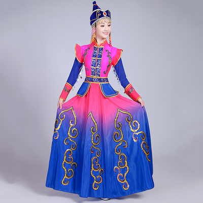 Mongolian dance, costume, performance, dress, adult, ethnic style, chopsticks dance, modern Mongolian dress
