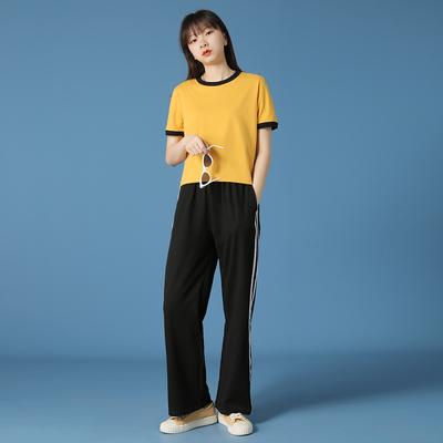 阔腿裤子女高腰垂感夏季薄2021新款黑色宽松直筒条纹运动长休闲裤