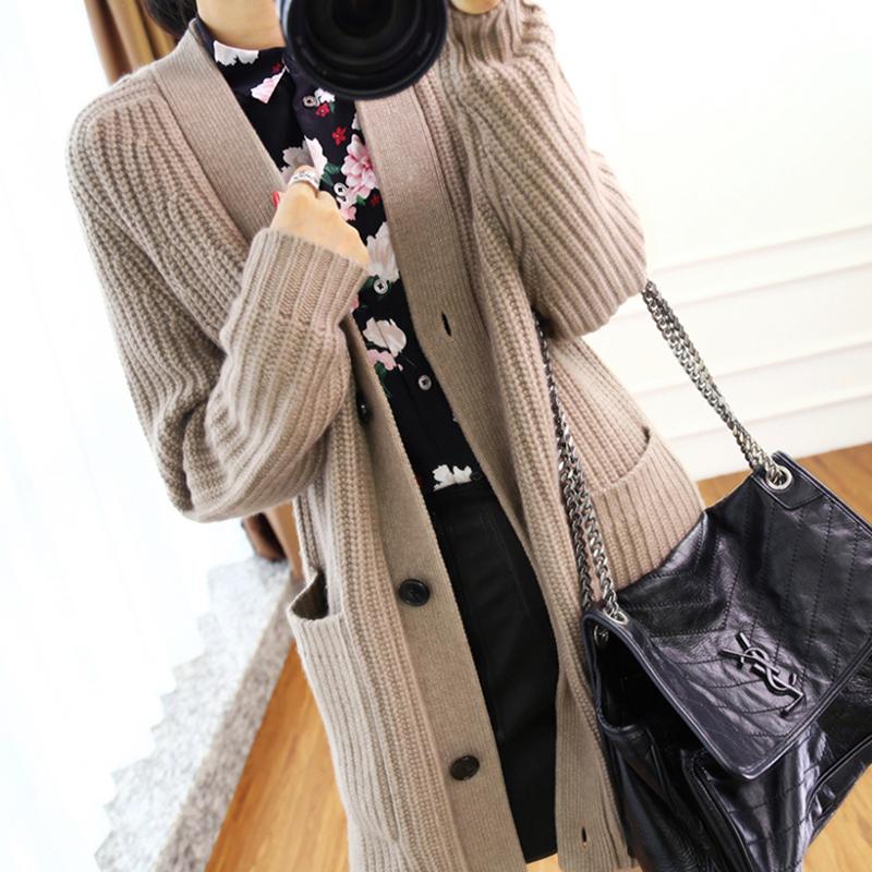 Áo len lửng gió nữ dáng dài 2019 mùa thu mới Hàn Quốc phiên bản áo len dày mùa xuân và áo len dày mùa thu - Cardigan