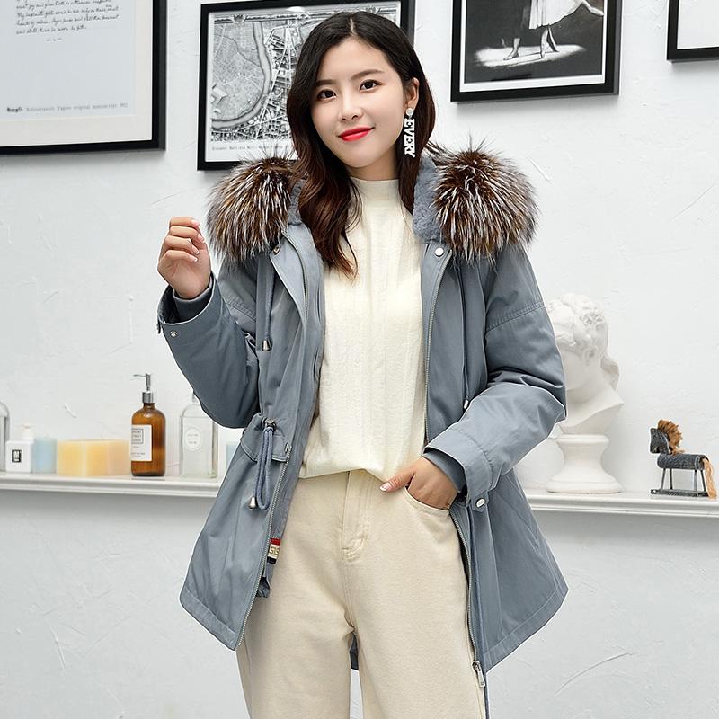 2019新款大衣大毛领貉子外套款冬反季派克服女皮草毛内胆中长獭兔
