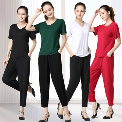 Square dance sports suit casual plus size modal cotton summer new style fashion short-sleeved shirt harem pants